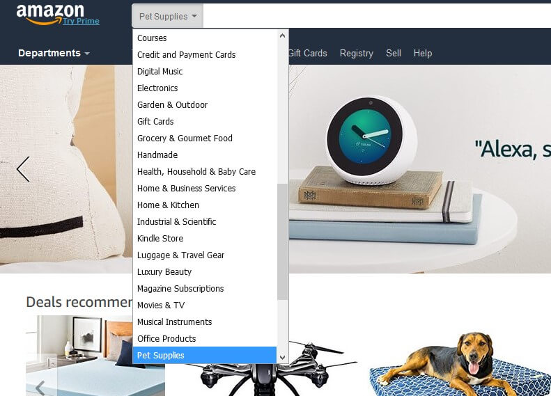 seo for large ecommerce site - amazon navigation