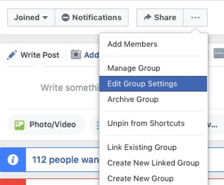 how to edit facebook group URL