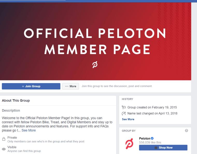 PELOTON facebook group