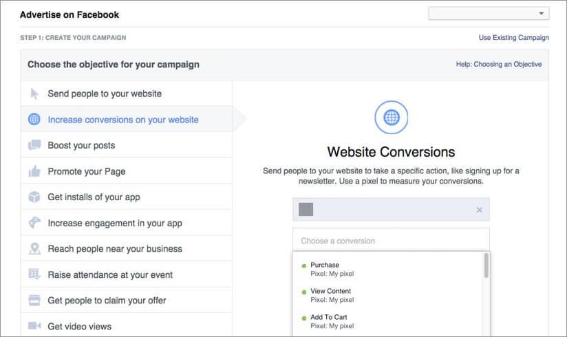 קמפיין פייסבוק - מדידה בפיקסל