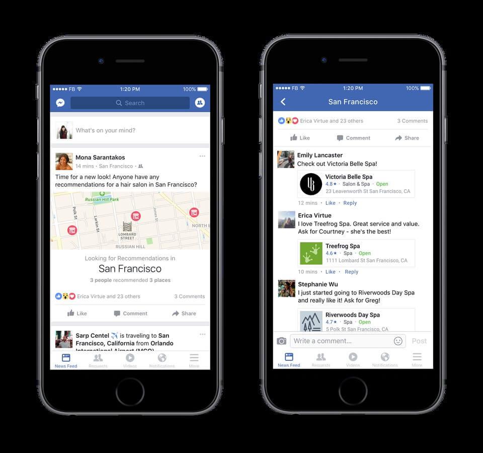 המלצות על עסקים מקומיים בפייסבוק