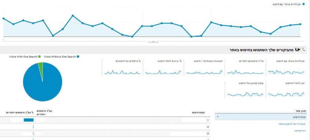 גוגל אנליטיקס - חיפוש באתר