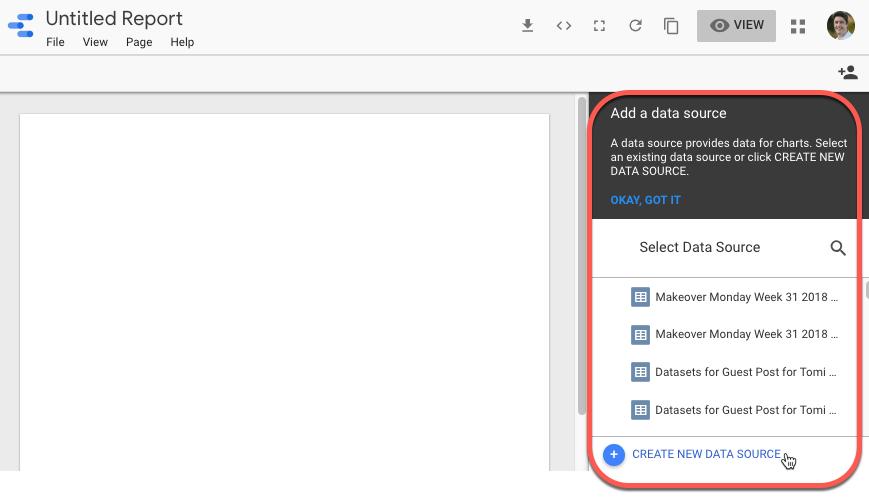 גוגל דאטה סטודיו – הוספת מקור נתונים