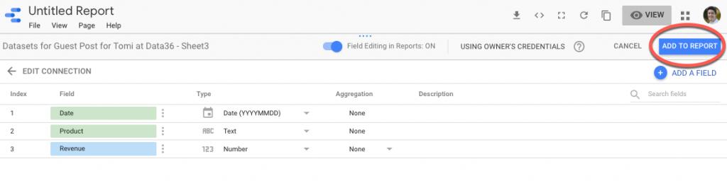 גוגל Data Studio – הוספה לדוח