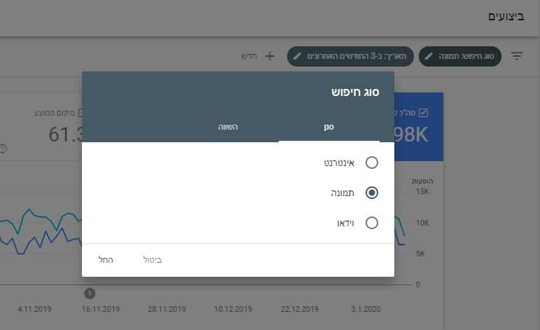 דוח ביצועים של תמונות - search console