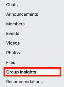 Insights in facebook menu